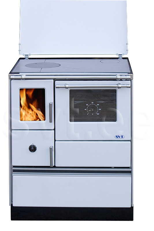 Woodburning cooker Alfa 70 with glass door white right 7kW