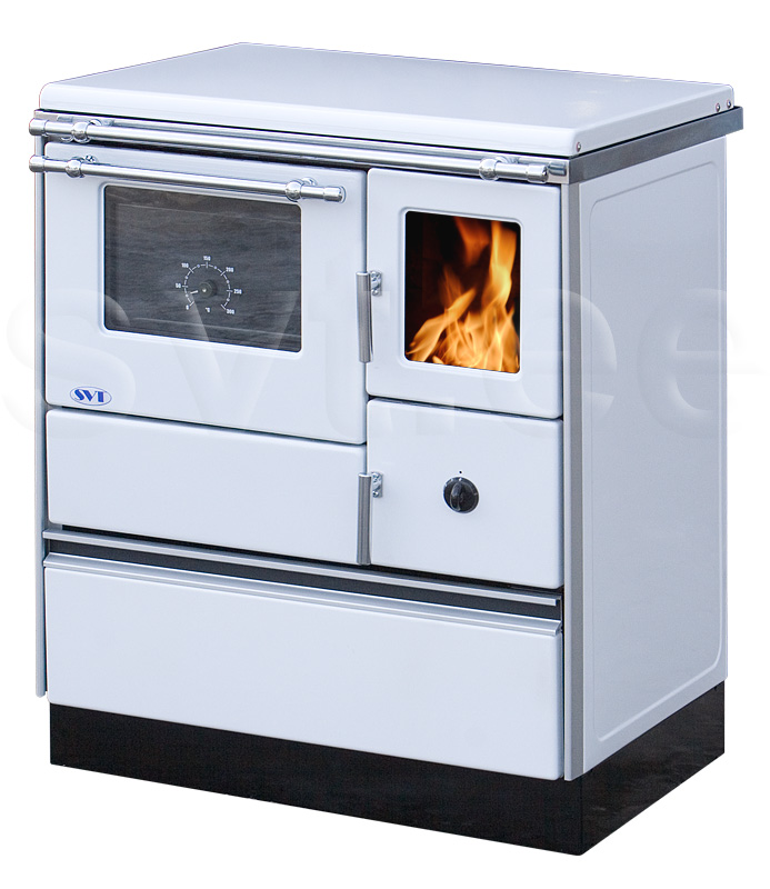 Woodburning cooker Alfa 70 with glass door white left 7kW