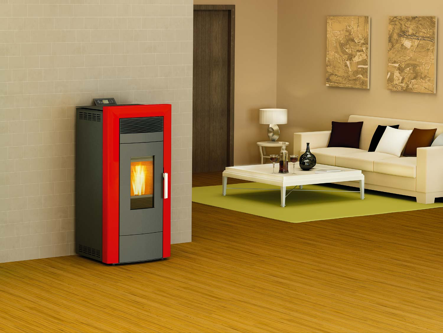 Centralheating pellet stove Commo beige 21kW