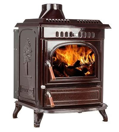 Cast iron fireplace Maximus 18,5kW brown enamel