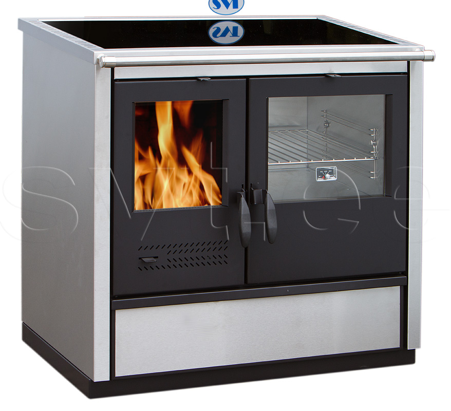 Woodburning cooker North with ceramic cooktop righthanded 9kW