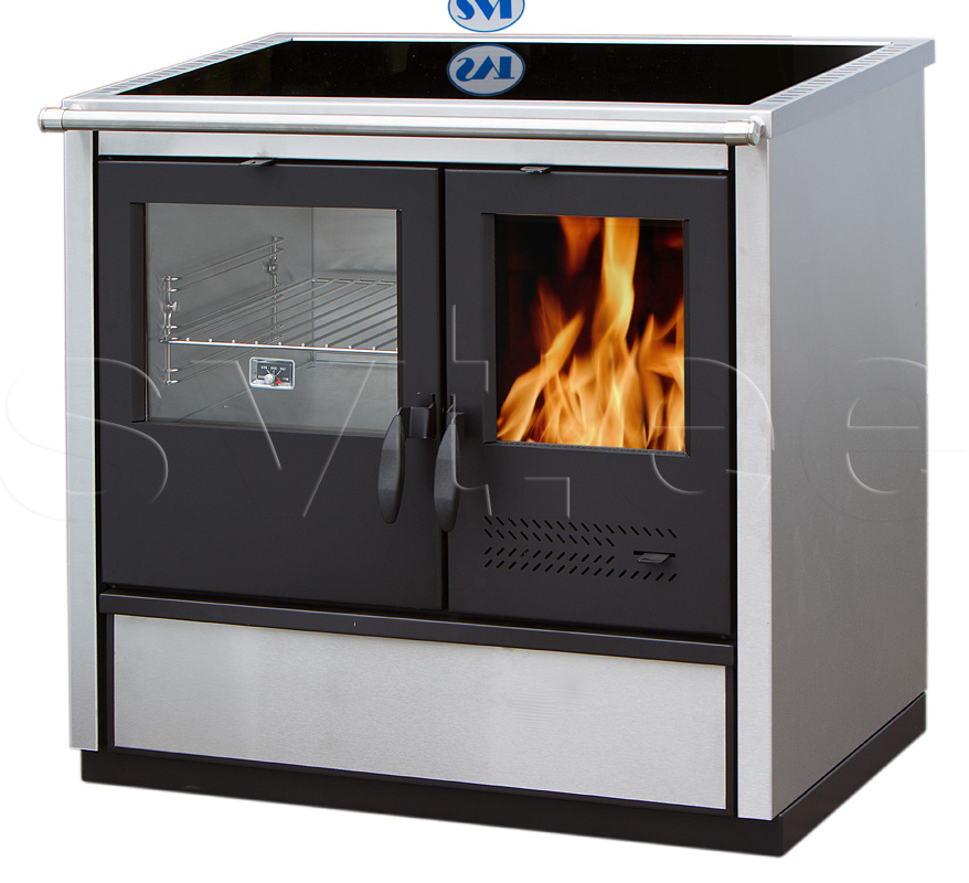 Woodburning cooker North with ceramic cooktop lefthanded 9kW