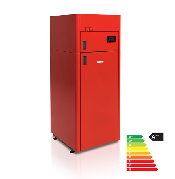Compact pelletboiler Toby B 12 red 3,6 kW – 12,3 kW